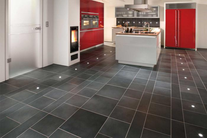 Кафельный пол кухни дизайн